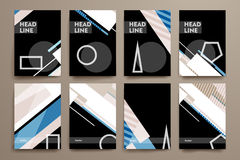 套小册子,海报在抽象背景样式的设计模板 免版税库存照片
