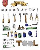 套工具在商店 免版税库存照片