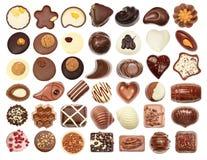 套巧克力candie,巧克力汇集 免版税库存照片