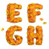 套巨大的秋天字母表信件:E, F, G, H 免版税图库摄影