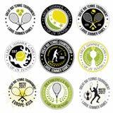 套巨大网球商标、标签和徽章 库存图片