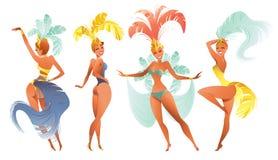套巴西桑巴舞蹈家 在节日服装跳舞的里约热内卢女孩的传染媒介狂欢节 向量例证