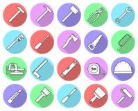 套平的五颜六色的修理工具象 免版税图库摄影