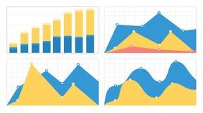套平的图表和图与栅格 免版税库存照片