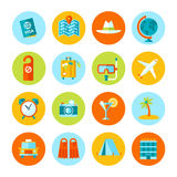 套平的旅行和旅游业象 免版税库存照片