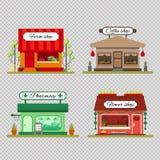 套平的样式的不同的商店-农产品、咖啡和花店-导航例证股票 Infographic 向量例证