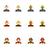 套平的样式的消防队员,不同的种族 免版税库存图片