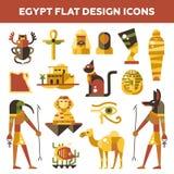 套平的设计埃及旅行象 免版税库存图片