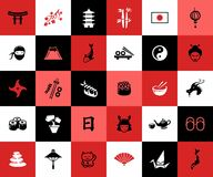 套平的设计日本人象 免版税库存照片