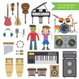 套平的仪器音乐 免版税库存图片