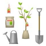 套幼木果树、铁锹、肥料和喷壶 农业小册子的例证,飞行物庭院 免版税图库摄影