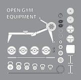 套开放健身房设备,建身 图库摄影