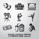 套徒手画的剧院象-面具,剧院 免版税库存照片