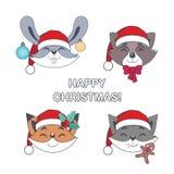 套快活的圣诞节动物 免版税图库摄影