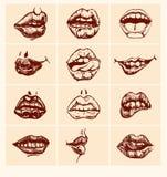 套性感的妇女嘴唇 免版税库存图片
