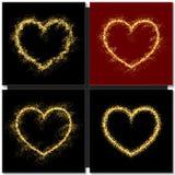 套情人节拟订与金心脏的背景 免版税图库摄影