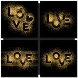 套情人节拟订充满金子词爱的背景 免版税库存照片