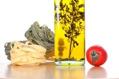 套意大利面食烹调的成份和香料 库存图片