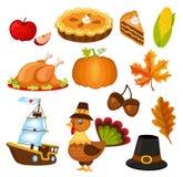 套感恩日的五颜六色的动画片图标 库存图片