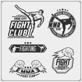 套战斗的俱乐部象征,标签、徽章和设计元素 库存例证