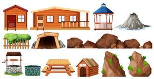 套房子和从事园艺 向量例证