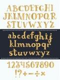 套手写的金拉丁字母 传染媒介剧本字体 在背景隔绝的金黄字母表 皇族释放例证