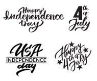 套手字法为美国独立日, 7月4日 库存图片