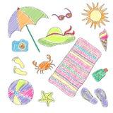 套手工制造标志和象夏天和假期在海滩 免版税库存图片