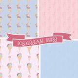 套手拉的冰淇凌葡萄酒样式 逗人喜爱的您的设计的动画片减速火箭的冰淇凌背景 免版税图库摄影