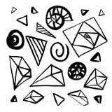 套手拉的几何设计元素 免版税库存图片