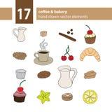 套手拉的咖啡和曲奇饼元素 免版税库存图片