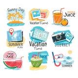 套手拉的夏天标志和横幅 免版税库存照片