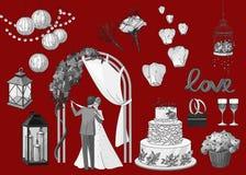 套手拉的婚礼元素-串  免版税库存照片