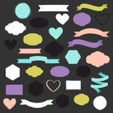 套手拉的形状用不同的颜色 心脏、横幅、圈子和丝带等 图库摄影