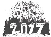 套手拉的概略圣诞节元素 乱画剪影例证 蜡烛,礼物盒,香丸 库存例证