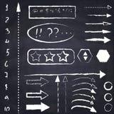套手拉的白垩箭头和标志 免版税库存照片