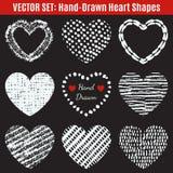 套手拉的纹理心脏形状 向量 皇族释放例证