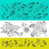 套手拉的花和叶子 也corel凹道例证向量 设计邀请的装饰元素,喜帖,华伦泰da 免版税图库摄影