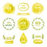 套手拉的水彩eco标签 库存图片