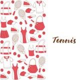 套手淹没网球项目:运动服、球拍和球 库存例证