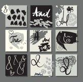 套手画创造性的设计的卡片 免版税库存照片