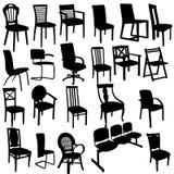 套扶手椅子剪影 免版税库存照片