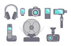套技术设备象在日常生活中 向量 库存照片