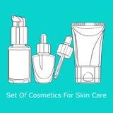 套护肤的化妆用品 免版税库存图片