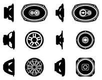 套报告人司机象 汽车音频 剪影传染媒介 库存照片