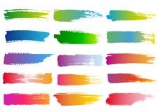 水彩刷子冲程,传染媒介集合 库存图片