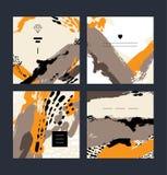 套抽象创造性的手工制造贺卡 免版税图库摄影