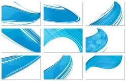 套抽象各种各样的名片波浪设计 库存图片