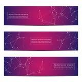 套抽象横幅设计,脱氧核糖核酸分子结构背景 几何图表和被连接的线与小点 免版税库存图片