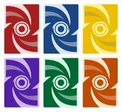 套抽象盖子样式-红色蓝色黄色紫色绿色桔子 向量例证
